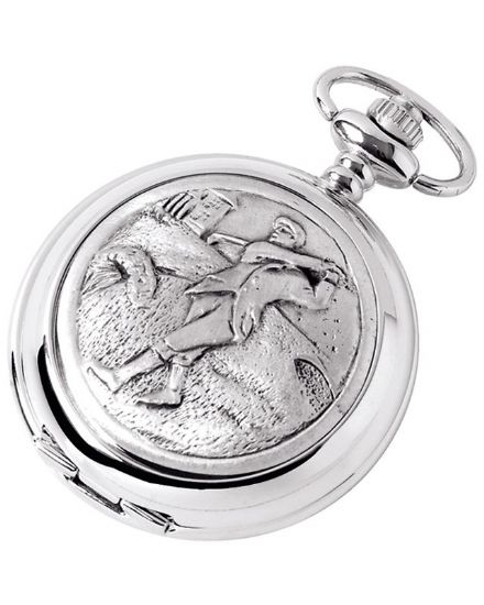 'Golfer' Quartz Pocket Watch with Chain